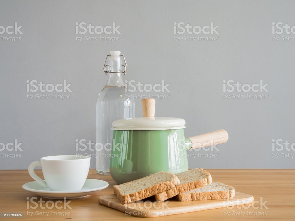 Wooden and stainless kitchenware. stock photo