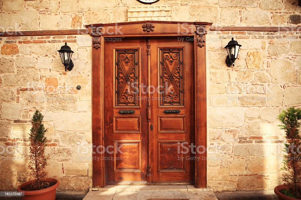 Wooden and Wrought Iron Door stock photo