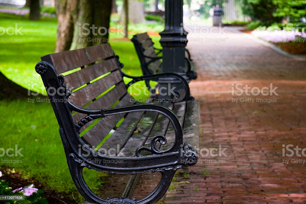 Wooden and wrought iron park bench royalty-free stock photo