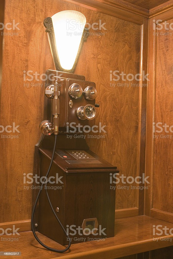 Wooden Antique telephone royalty-free stock photo
