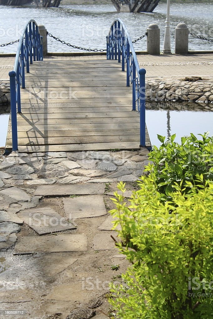 Wooden arched bridge royalty-free stock photo