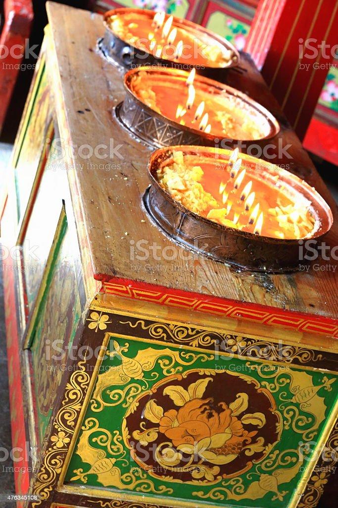 Wooden ark-oil lamps. Drak Yerpa-Tibet. 1508 stock photo