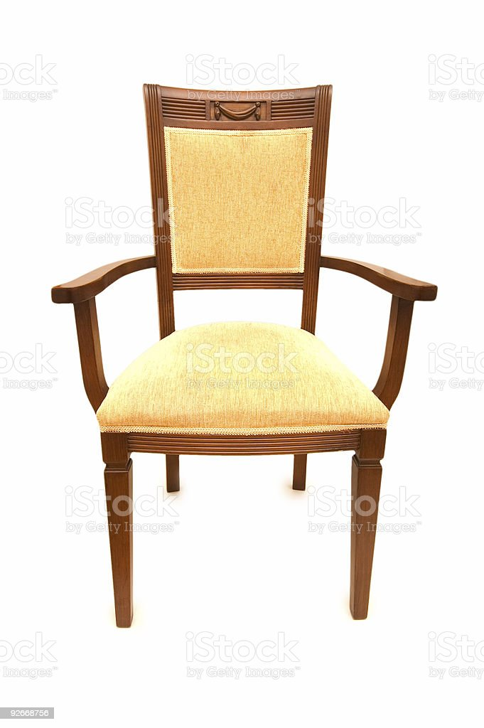 Wooden arm chair isolated on the white royalty-free stock photo