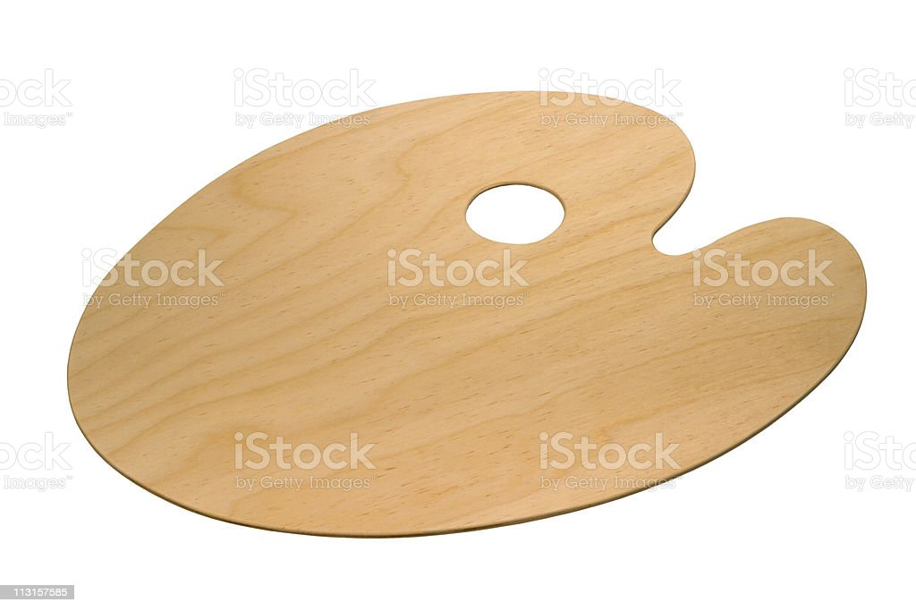wooden art palette stock photo