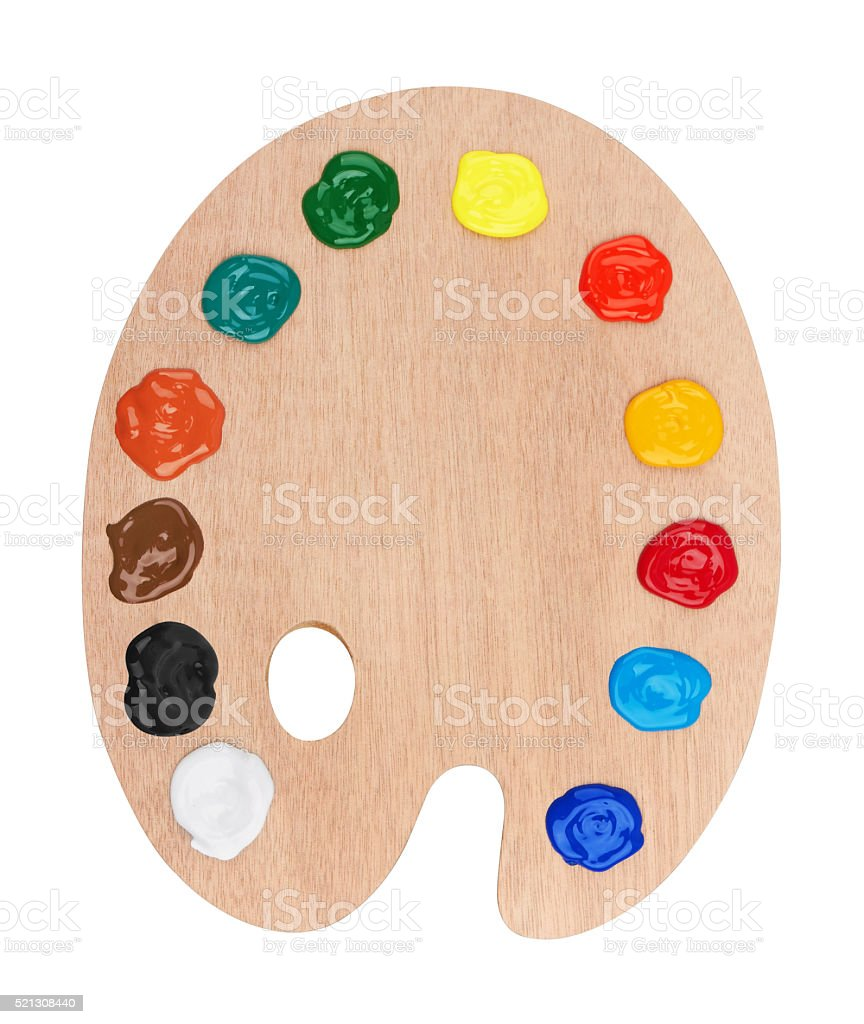 Wooden art palette with paints stock photo