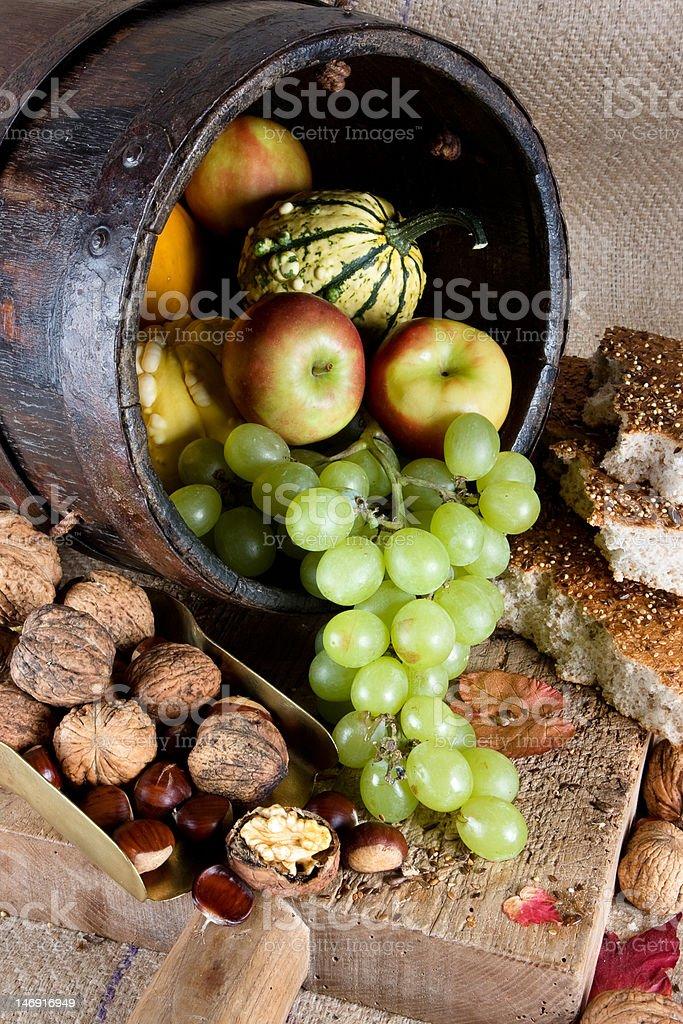 Wooden autumn bucket royalty-free stock photo