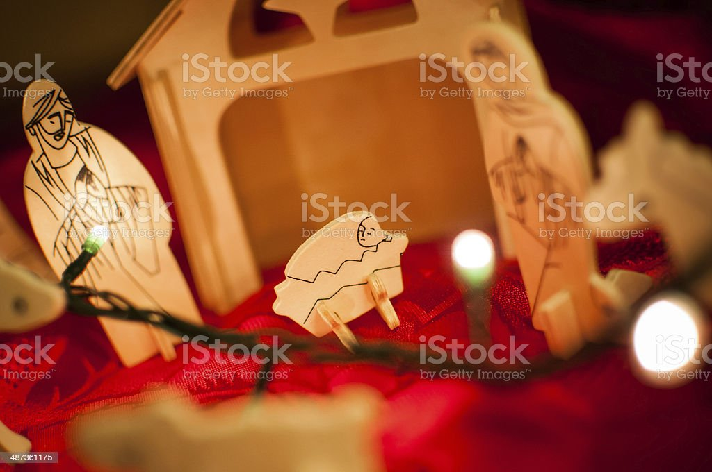 Wooden baby Jesus Christ nativity scene stock photo