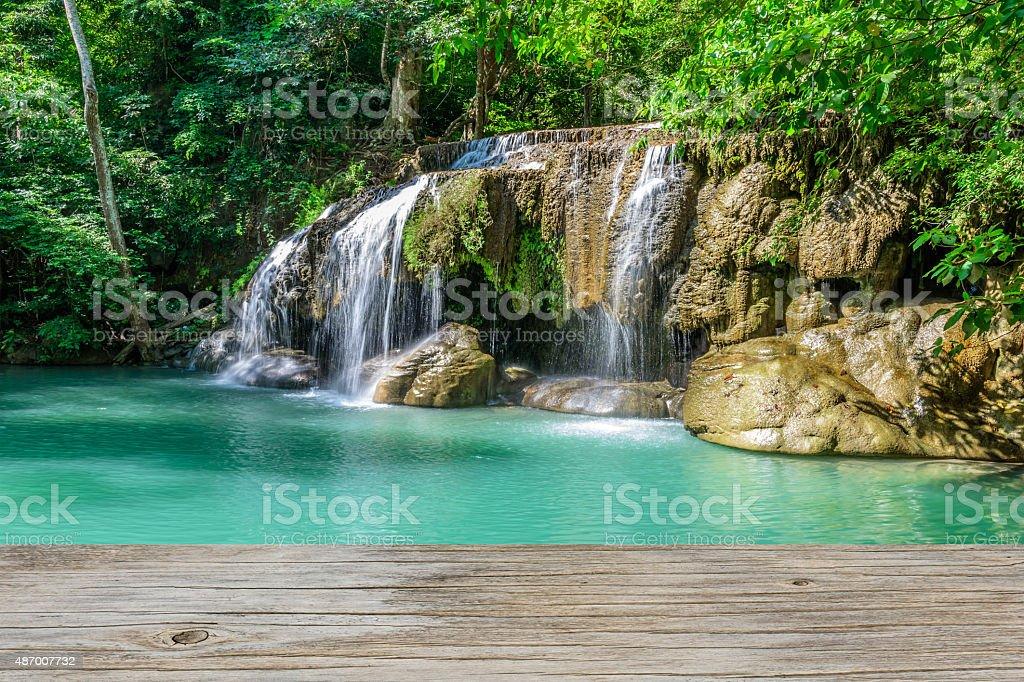 Wooden backdrop Falls, Kanchanaburi Erawan Thailand. stock photo