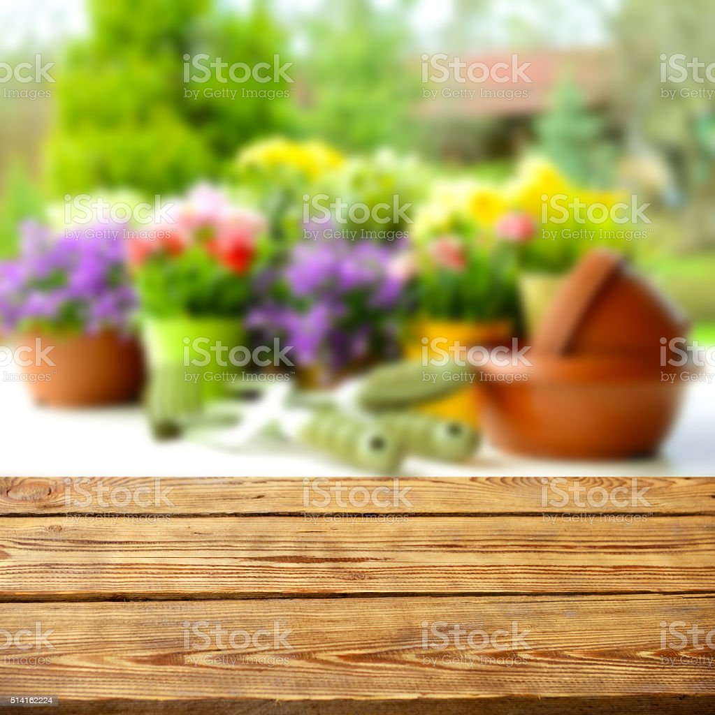 wooden background and Blurred nature background stock photo