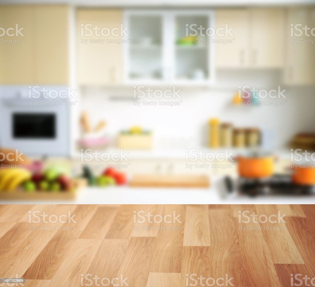 wooden background and Defocused kitchen background stock photo