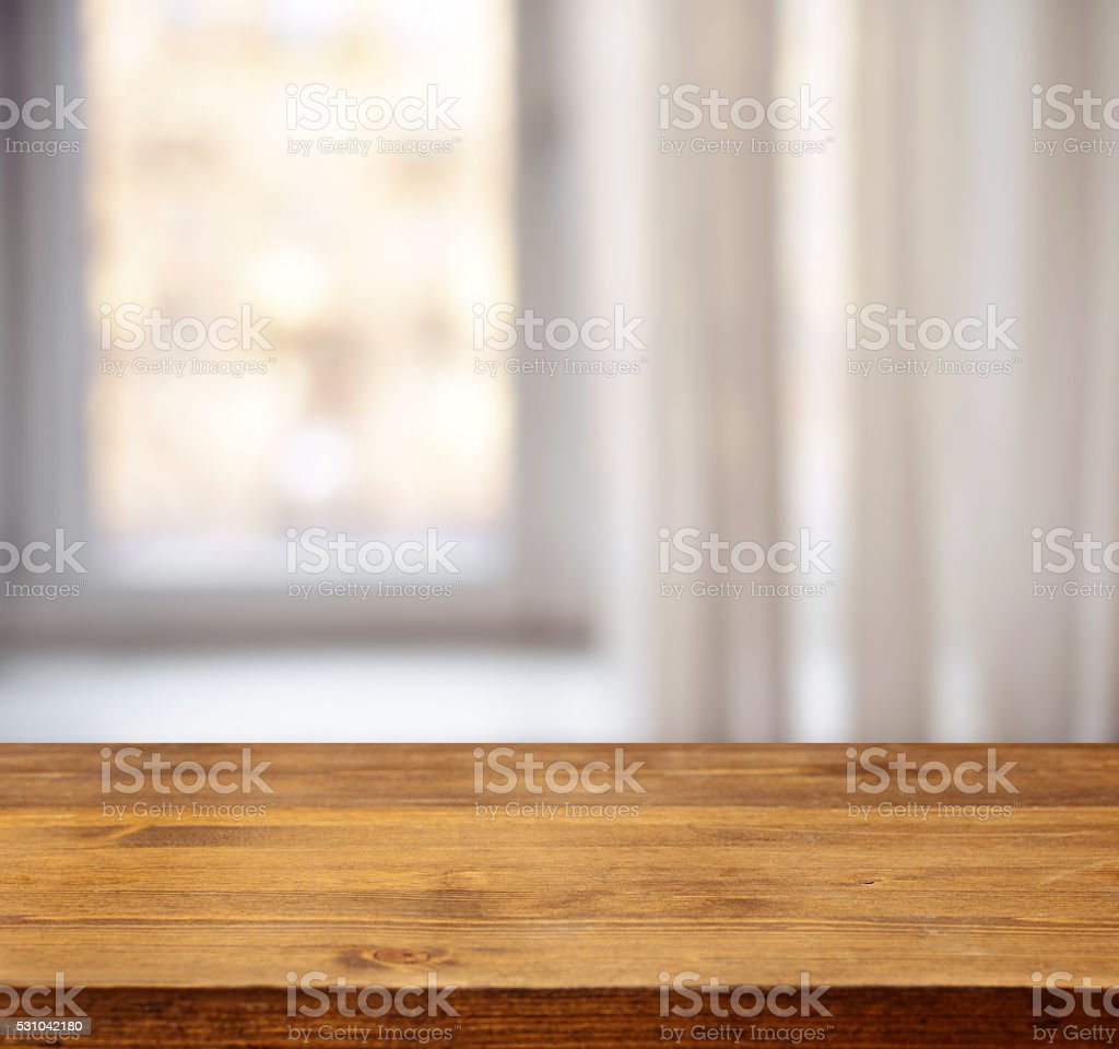 wooden background and defocused window stock photo