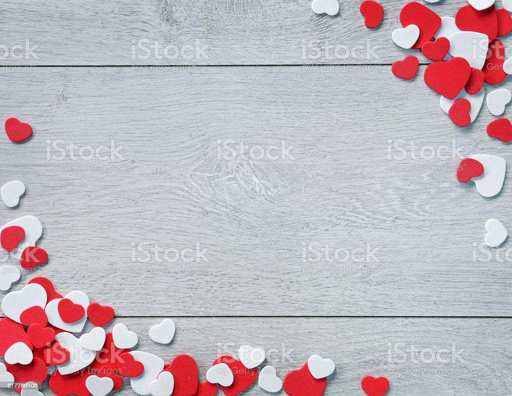 Wooden Background for design to Valentine's Day. stock photo
