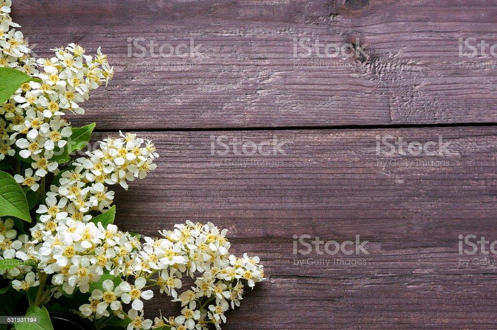 Fundo de madeira com flores foto de stock royalty-free