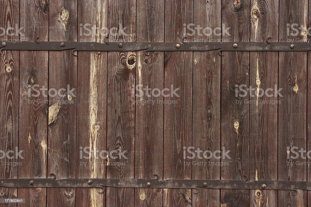 Wooden background with metal decorations. royalty-free stock photo
