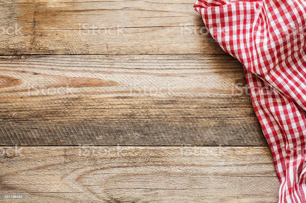 Wooden background with textile and copy space for text stock photo
