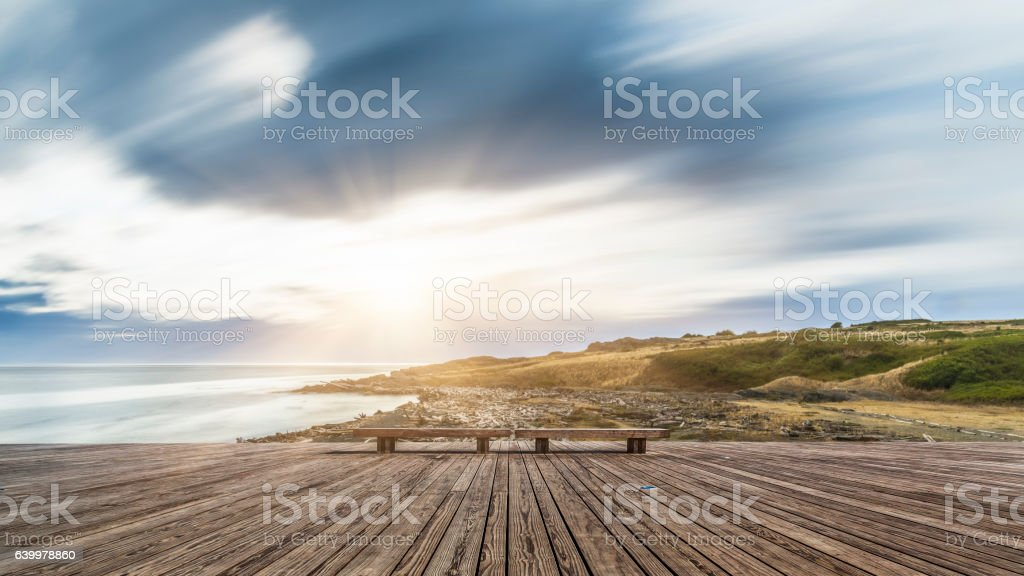 wooden balcony with motion cloud stock photo
