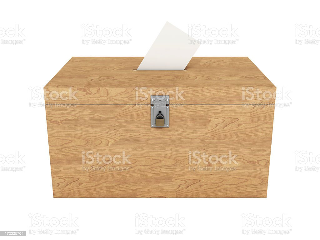 Wooden Ballot Box with Clipping Path stock photo