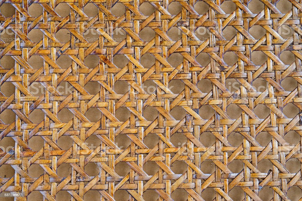 Wooden bamboo mesh texture design detail stock photo