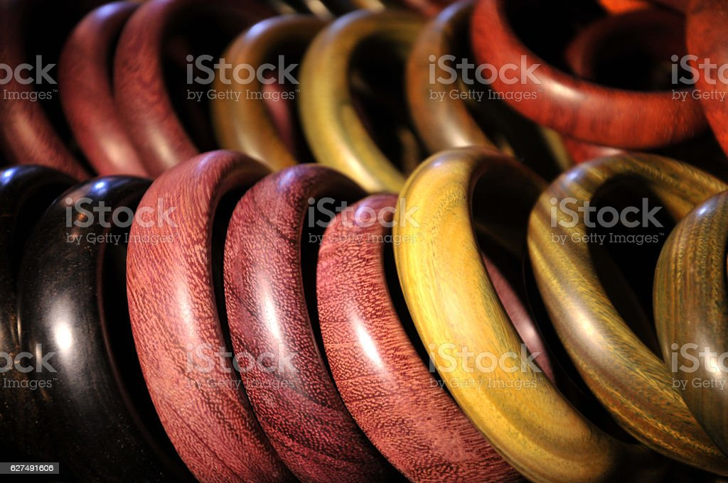 Wooden bangles for sale stock photo
