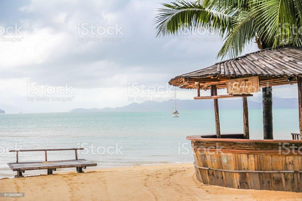 Wooden bar on the beach stock photo