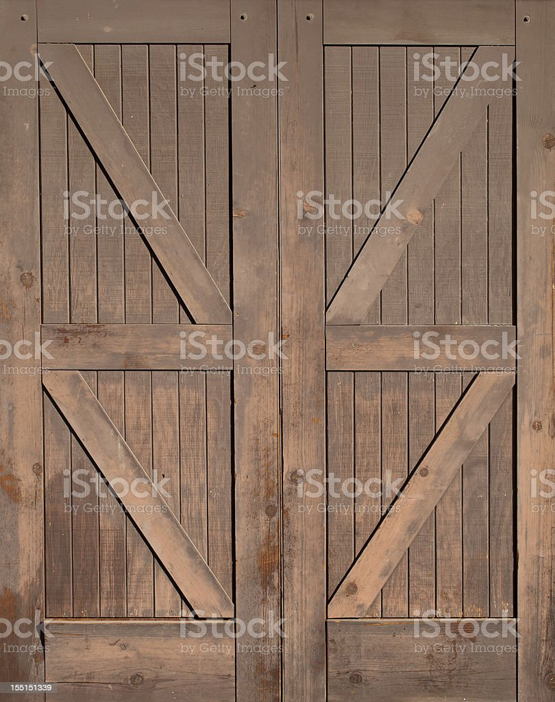 Wooden Barn Doors Isolated stock photo