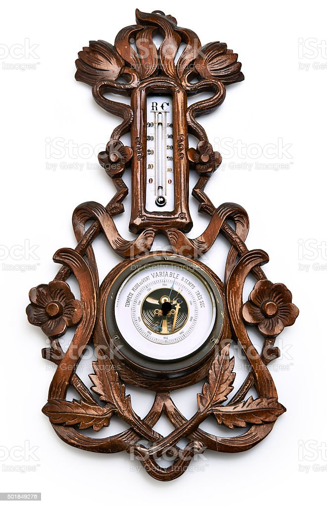 Wooden barometer and thermometer - clipping path stock photo
