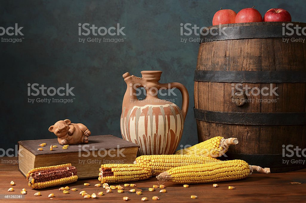 Wooden barrel and corn royalty-free stock photo