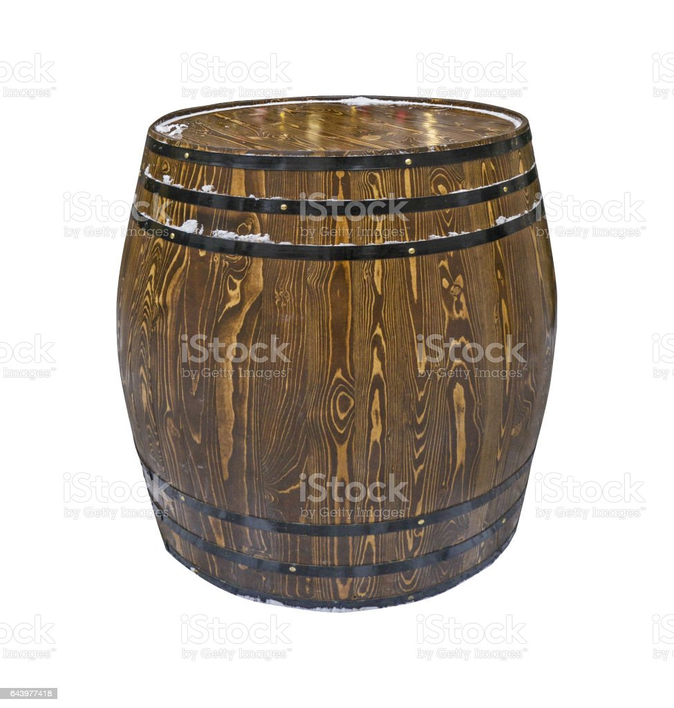 wooden barrel for wine isolated on white background stock photo