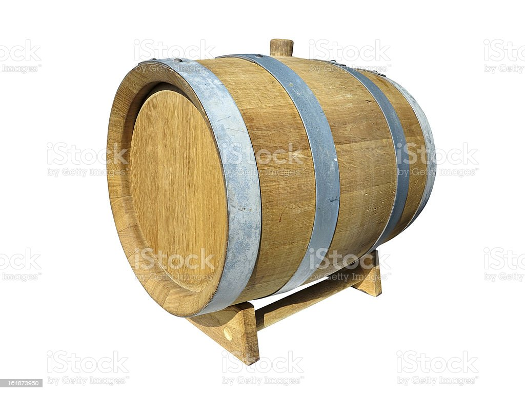 Barril de madeira do vinho isolado sobre branco foto de stock royalty-free