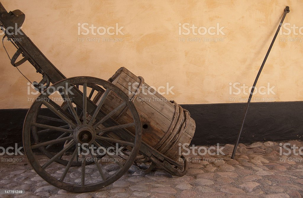 wooden barrel in a cart royalty-free stock photo
