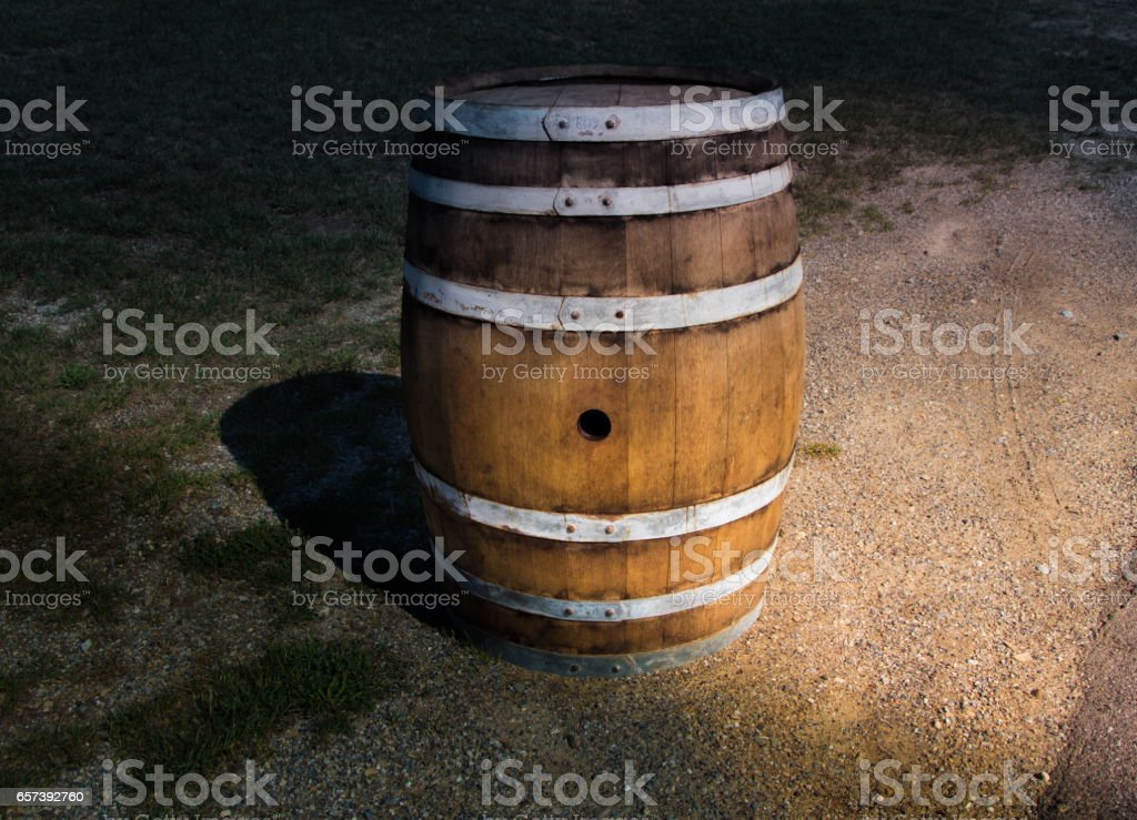 Wooden barrel in the nature stock photo