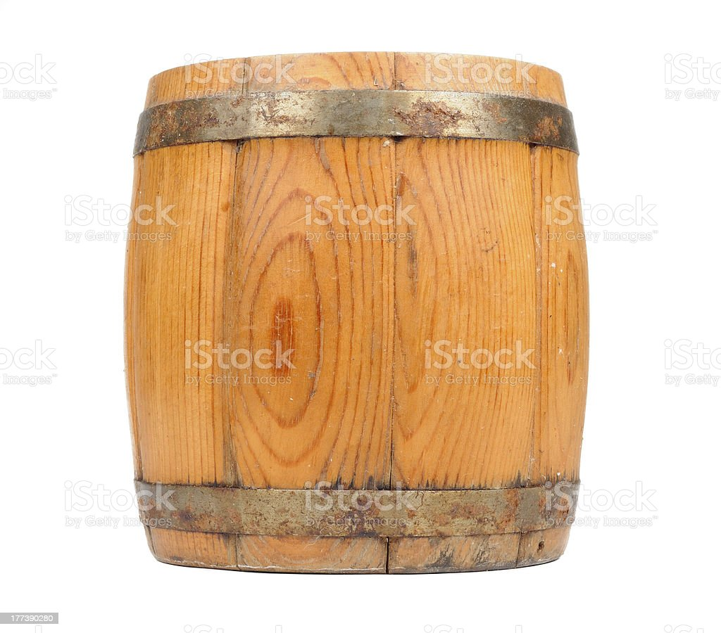 Wooden Barrel Isolated on White Background royalty-free stock photo