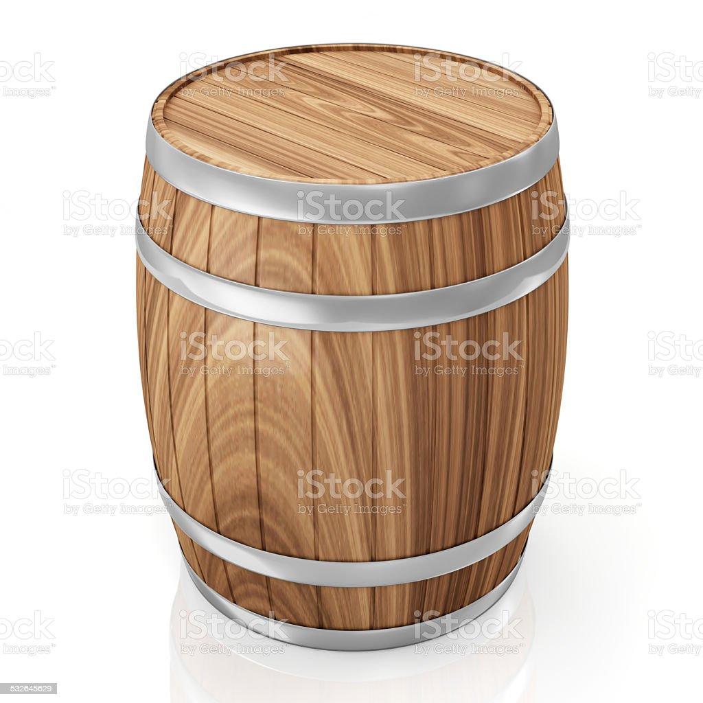 Wooden Barrel isolated on white background stock photo