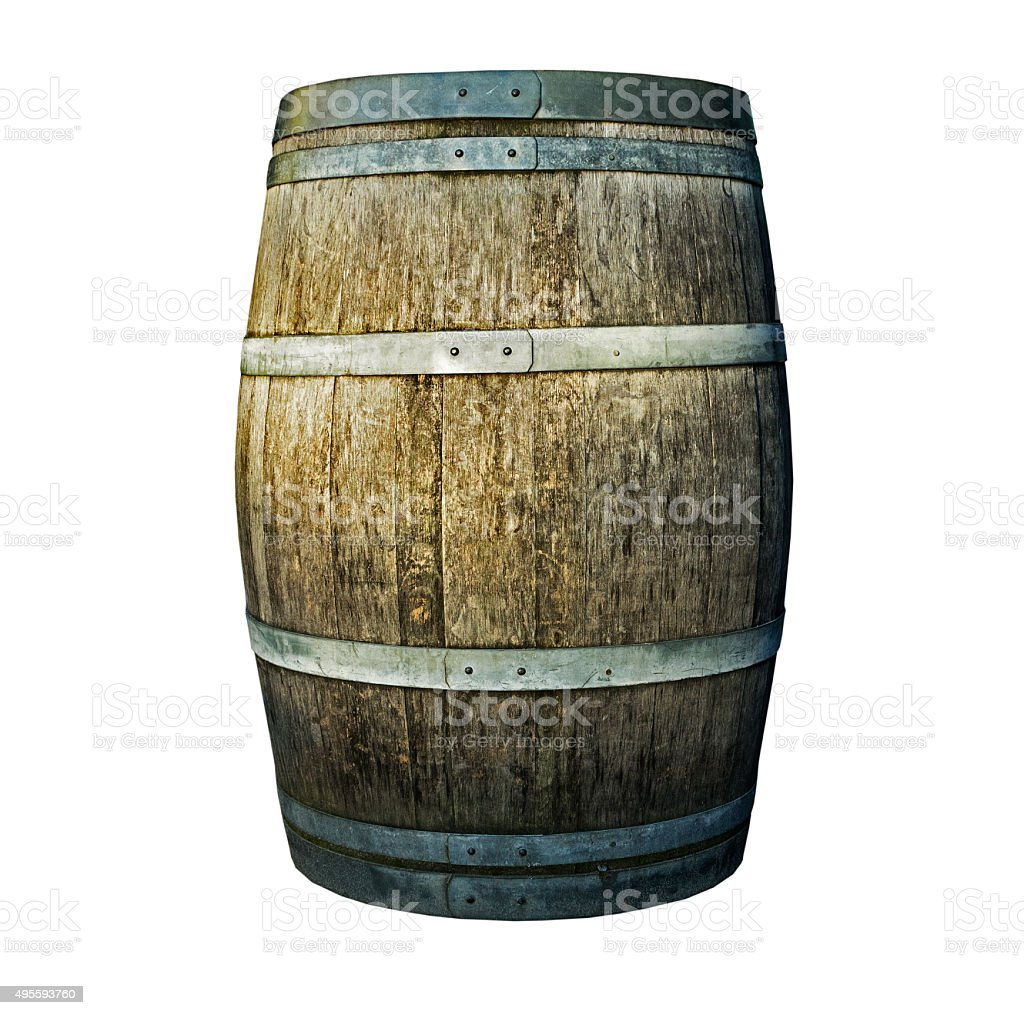 Wooden barrel on a white background stock photo