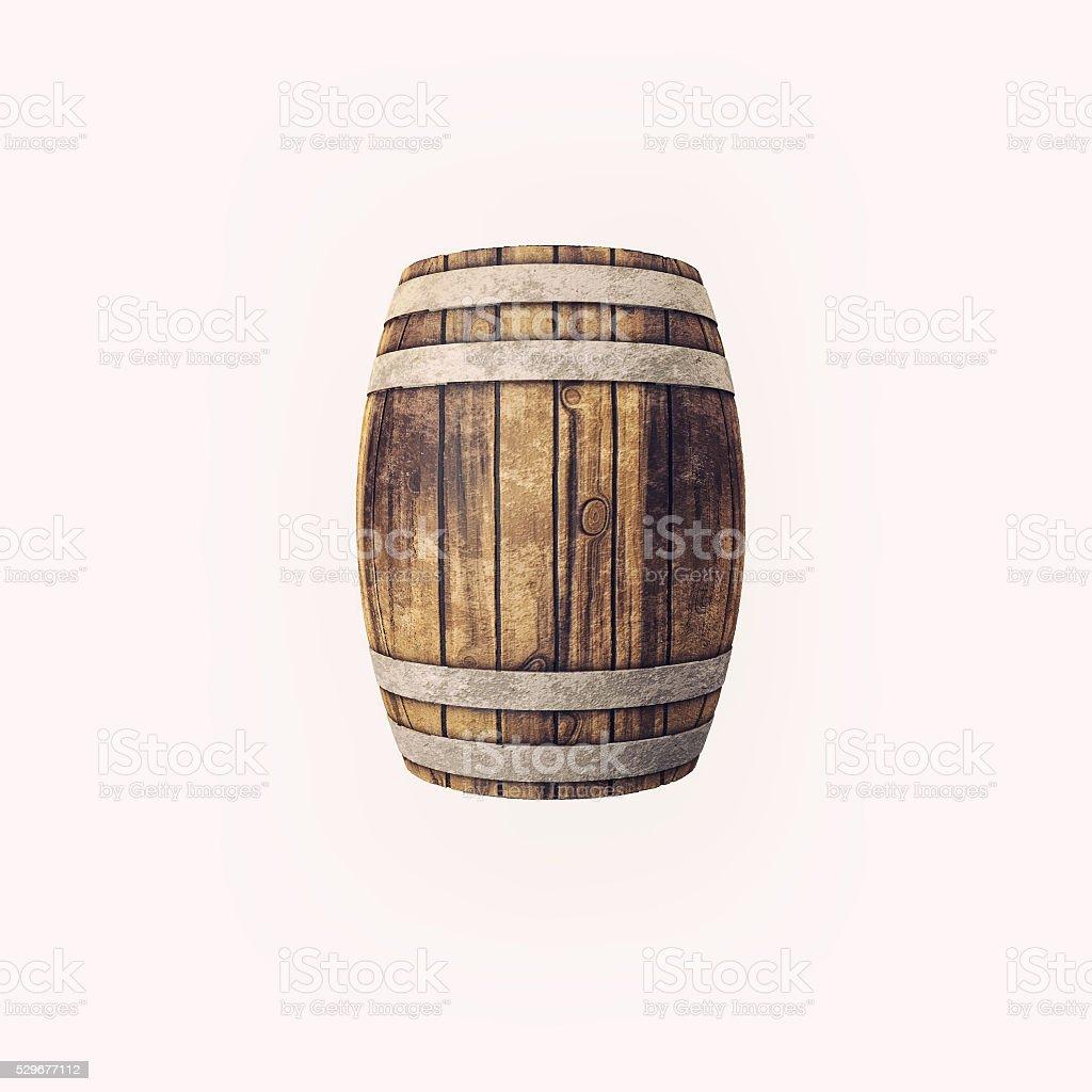 Wooden barrel on white background. stock photo