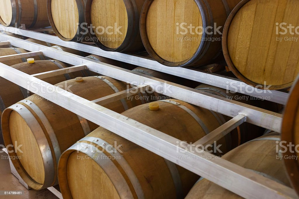 wooden barrels at contemporary wine actory stock photo