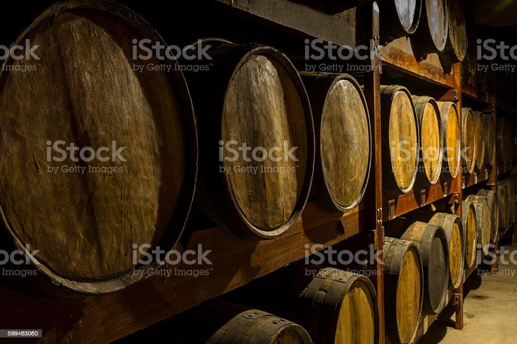 Wooden barrels deposit for brazilian cachaça aging sugarcane liquor stock photo