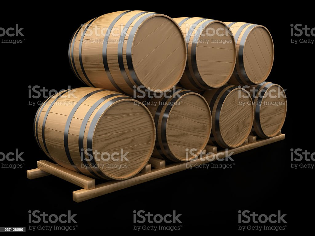 Wooden Barrels stock photo