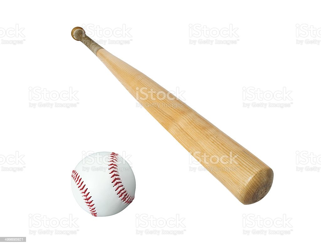Wooden baseball bat and ball isolated on white royalty-free stock photo