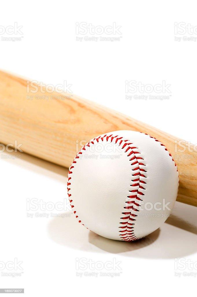 Wooden baseball bat and baseball on a white background royalty-free stock photo