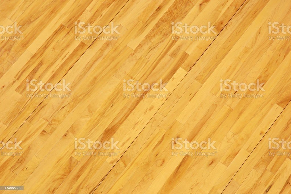 Wooden Basketball Floor Shot Overhead at Diagonal stock photo