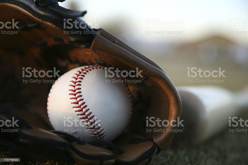 Wooden bat and ball royalty-free stock photo