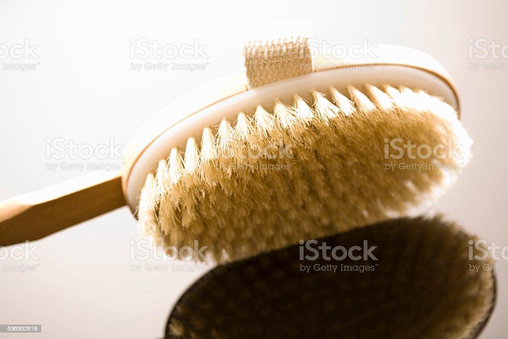 Wooden bath brush, close-up stock photo