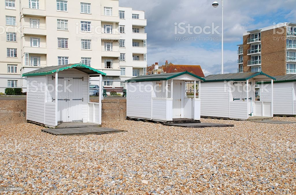 Wooden beach huts, Bexhill royalty-free stock photo