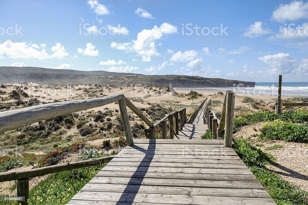 Wooden Beach Ramp stock photo