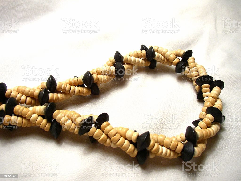 wooden bead necklace stock photo