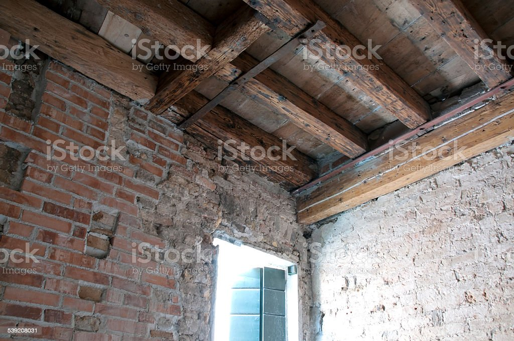 Wooden beamed ceiling stock photo