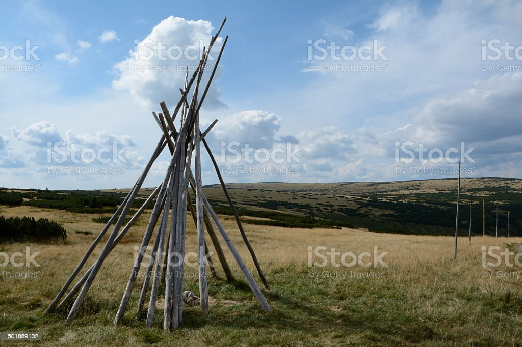 Wooden beams on meadow in Karkonosze mountains. stock photo
