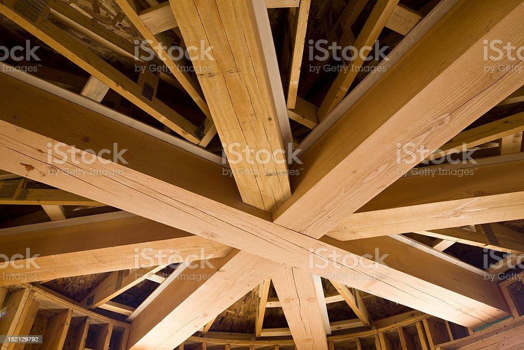 Wooden Beams under Construction stock photo