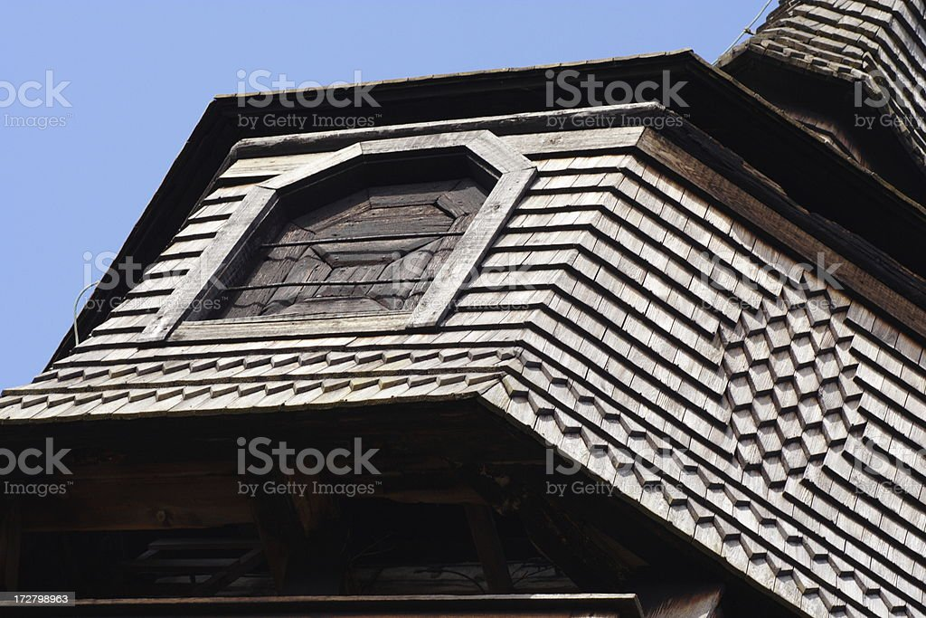 Wooden bell tower stock photo